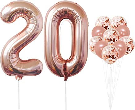 Amazon.com: Globos de oro rosa de 20 números – grandes, 2 y ...