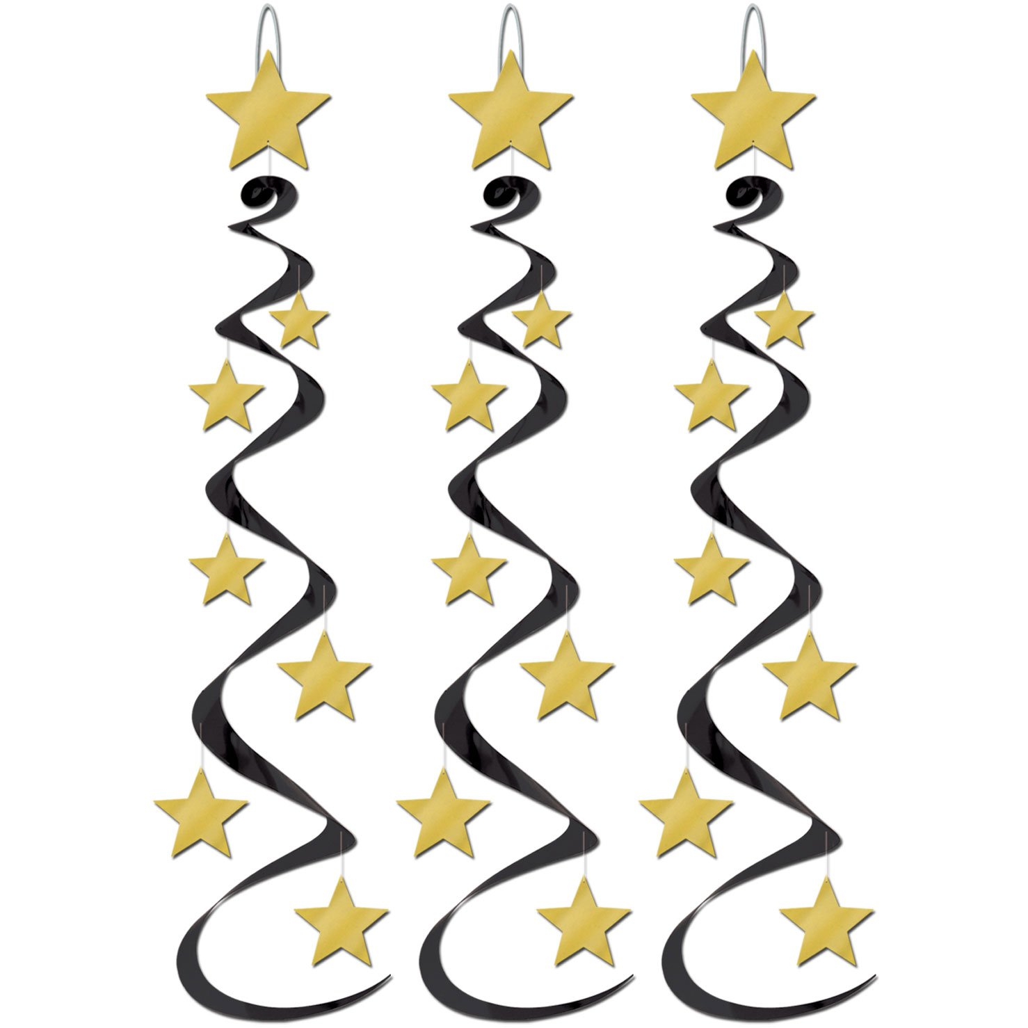 Star Whirls Black and Gold Pack of (3 Per Package)