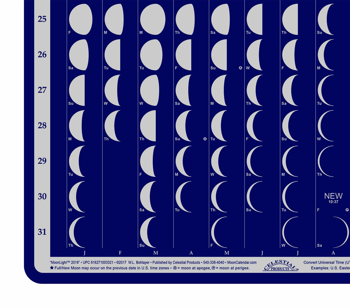 Celestial Products Moon Calendar 2019 Lunar Phases, Moonlight