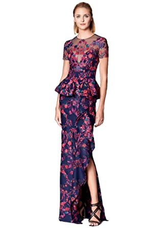 9b83cfe85e9 Marchesa Notte Women's Short Sleeve Floral Scuba Knit Peplum Evening Gown 0  Navy at Amazon Women's Clothing store: