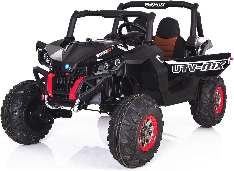 RIRICAR El Coche eléctrico de los niños Nuevo RSX Buggy 2 x 12V Negro - 2.4Ghz, 4 X Motor, Control Remoto, Dos Asientos, Llave de Encendido, Ruedas de EVA Suave, USB, Tarjeta SD