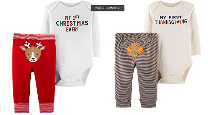 85d5353bb4f8 Carter's My First Thanksgiving and My First Christmas Bodysuit and Pant  Outfits, Baby Bundle (