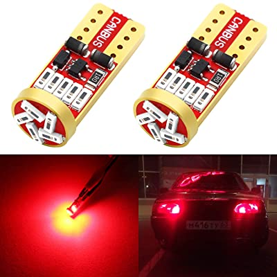Phinlion 194 LED Red Super Bright Wedge 168 2825 175 T10 15-SMD 4014 Chipsets LED Replacement Bulbs for Car Side Marker Dome Map Reading Courtesy Tail License Plate Lights: Automotive