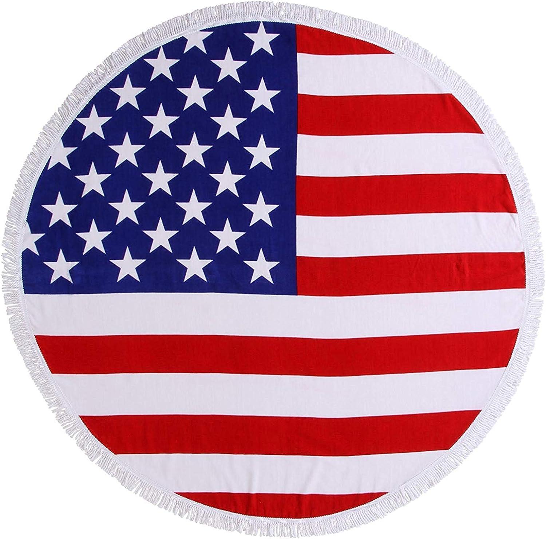 140cm Diam/ètre Bubble And Bling Boutique Joli 100/% Cotton Velours Drapeau USA Imprim/é Grand Rond Serviette de Plage avec D/étail Frange Rouge Blanc /& Bleu
