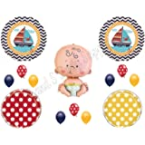 AHOY! It's A Boy Baby Shower Balloons Decoration Supplies Nautical Whale Ocean