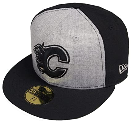 online store f34d8 f11b5 New Era Calgary Flames Heather Grey Black Cap 59fifty 5950 Fitted Basecaps  NHL  Amazon.co.uk  Clothing