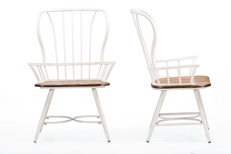 Baxton Studio Longford Dark-Walnut Wood and White Metal Vintage Industrial Dining Arm Chair Set of 2
