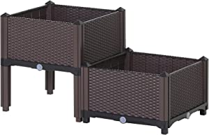 Outsunny Set of 2 Plastic Raised Garden Bed Elevated Planter Box Kit Rattan Pattern with Self-Watering Design and Compact Footprint, Perfect for Flowers Vegetables and Herb