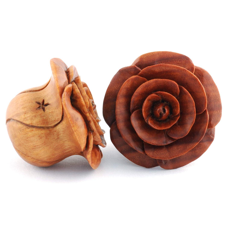 Pair of Sabo Wood Rosebud Plugs