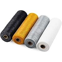 LaRibbons Deco Poly Mesh Ribbon - 10 inch x 30 feet Each Roll - Metallic Foil Gold/Silver/White/Black Set for Wreaths…