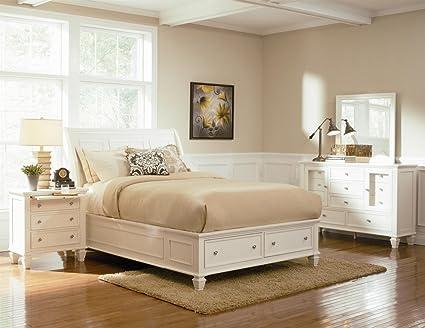 Amazoncom Inland Empire Furniture Wyatt White Solid Wood Platform