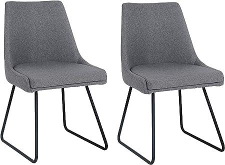 Meubletmoi Chaises Tissu Gris Confortable Pieds métal Noir