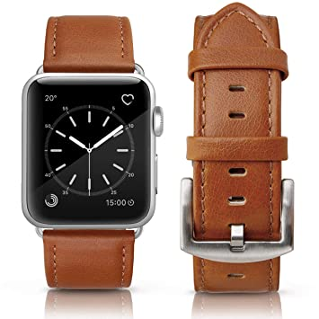 MCD Correa para Apple Watch 44mm Series 4 y 42mm Series 3 Series 2 Sereis 1. Correa de Piel Cuero Genuino - Marrón Claro Liso.