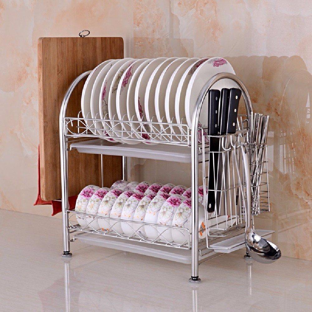 KHSKX cucina scaffale, 304 di acciaio inossidabile, rack, doppio lishui scolapiatti, cucina scaffale bowl