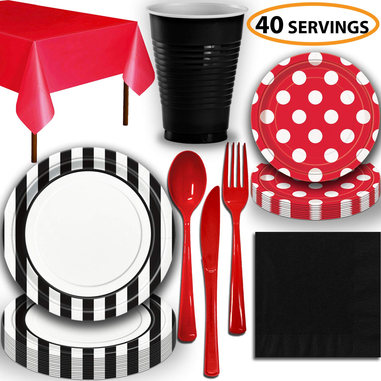 Disposable Tableware, 40 Sets - Midnight Black and Ruby Red - Striped Dinner Plates, Dotted Dessert Plates, Cups, Lunch Napkins, Cutlery, and Tablecloths: Premium Quality Party Supplies Set by HeroFiber (Image #1)