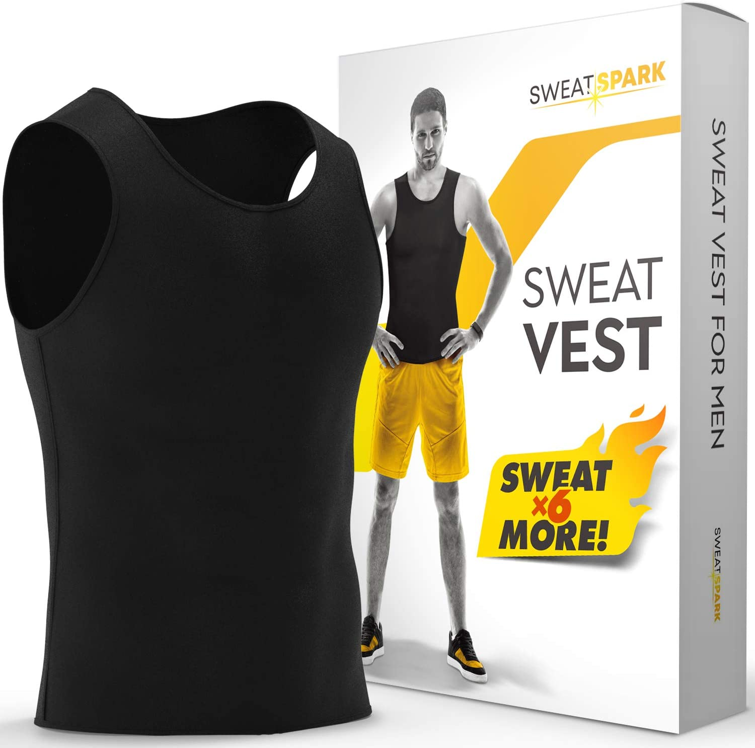 Increase Your Workout Motivation XS-10XL Sweat Vest for Men - - Advanced Weightless Neoprene Sauna Shirt Designed in The USA