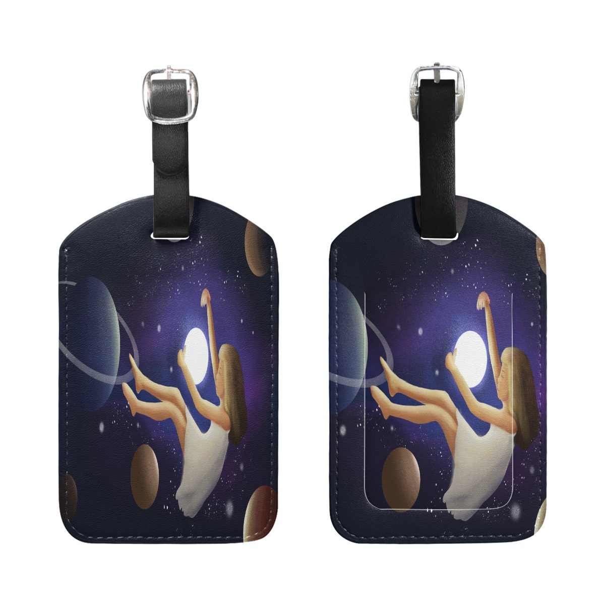 Saobao Travel Luggage Tag Girls And Stars PU Leather Baggage Suitcase Travel ID Bag Tag 1Pcs