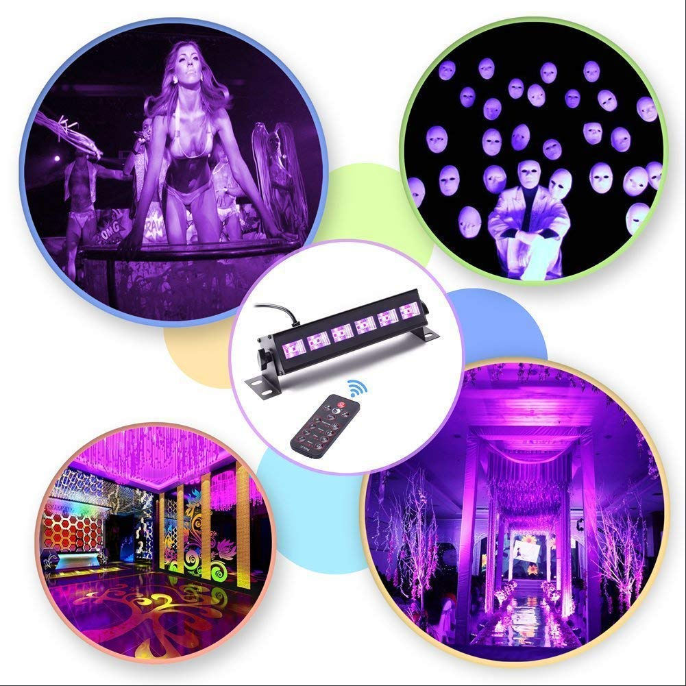 U`King Black Light Bar 6 LED x 3W for Glow Parties by RF Remote Control and DMX Controller by U`King (Image #4)