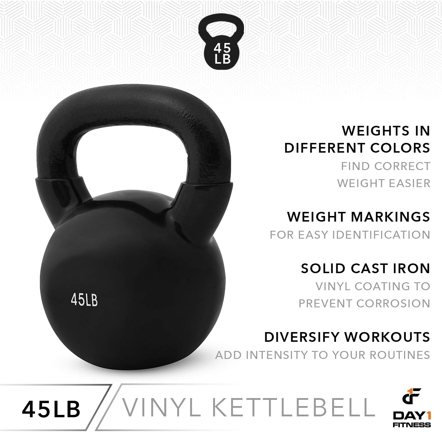 Day 1 Fitness Kettlebell Weights Vinyl Coated Iron 45 Pounds - Coated for Floor and Equipment Protection, Noise Reduction - Free Weights for Ballistic, Core, Weight Training by Day 1 Fitness (Image #5)