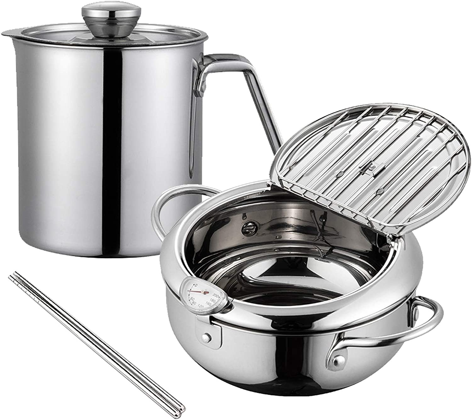 Stainless Steel Fryer Pan Tempura Japanese Style Household Frying Pot with Thermometer Kitchen Deep Fryers Tempura Fryer Pan (9.75.5in 3.4L&1.8L Filter pot,304 stainless steel)