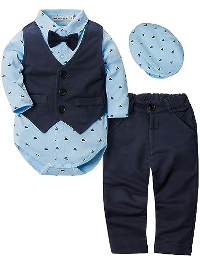 ZOEREA 4pcs Ropa Bebe niño Conjuntos Camisas de Manga Larga + Chaleco + Pantalones + Boina, Infantil niños Trajes Conjunto de Fiesta Boda Bautizo