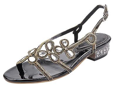 009616840a0 Honeystore Women s Leaf Patern Rhinestone Flat Sandals Slingback Slip On  Shoes Black 4.5 B(M