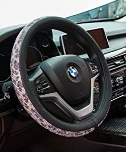 Crystal Diamond Steering Wheel Cover, PU Leather with Colorful Leopard Bling Bling Rhinestones, Universal 15inch / 38cm for Women Girls, Purple