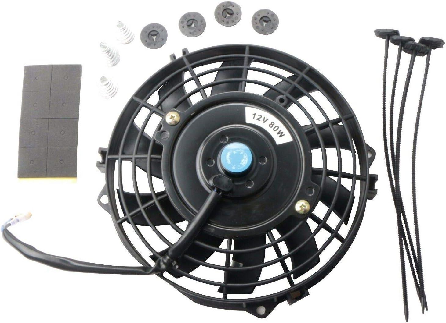 "LTI Universal High Performance S Blade Pull/Push 12V Slim Electric Cooling Radiator Fan + Fan Mounting Kit (7"", Black)"