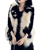 Aishang Women's Skeleton Pattern Hi-Low Hem Sleeveless Faux Fox Fur Vest