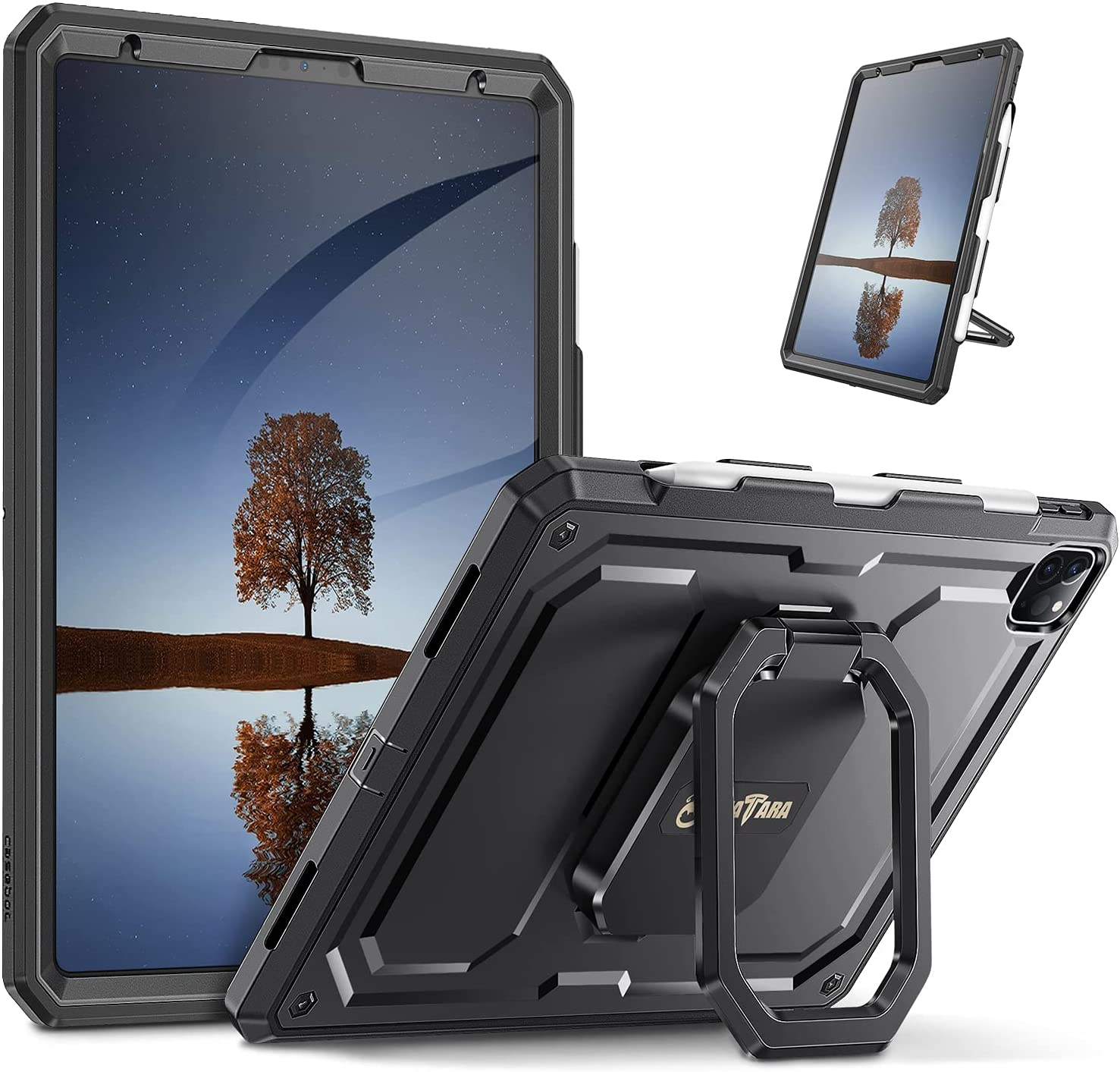 Fintie Case for iPad Pro 11-inch (3rd Generation) 2021 / iPad Pro 11 2020 & 2018 - [Tuatara Magic Ring] 360 Degree Rotating Shockproof Rugged Stand Cover with Screen Protector, Pencil Holder, Black