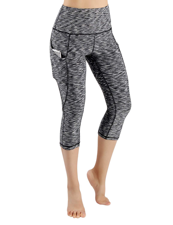 ODODOS High Waist Out Pocket Yoga Capris Pants Tummy Control Workout Running 4 Way Stretch Yoga Leggings,SpaceDyeBlack,X-Small by ODODOS (Image #2)