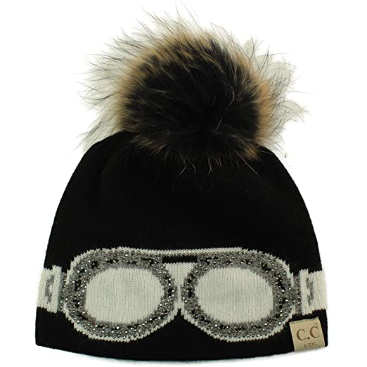 Kids CC Black Label Ages 2-7 Real Fur Pompom Stretchy Knit Beanie Cap Hat 64fc84b1640