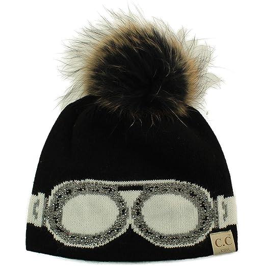 b64e346d448 Kids CC Black Label Ages 2-7 Real Fur Pompom Stretchy Knit Beanie Cap Hat