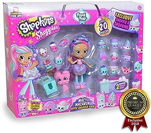 Shopkins Shoppies Macy Macaron Exclusive Super Shopper Pack - Girls Day Out Doll Food Fair Shopping Spree (20+Piece)