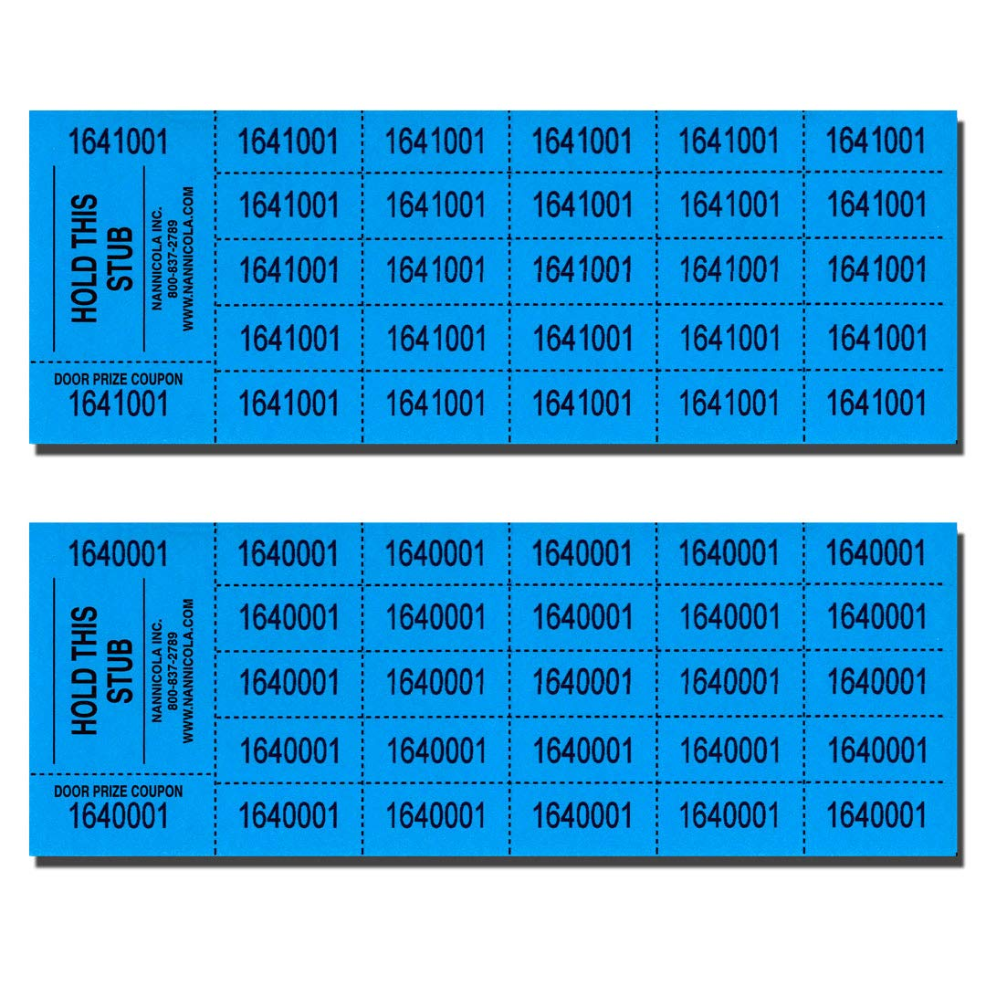 Auction Tickets - 1000 Sheets - Assorted Colors (Cyan) by Nannicola Inc.