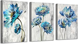 "Abstract Floral Artwork Flower Picture: Teal Splash Painting on Canvas Art for Wall ( 16"" x 12"" x 3 Panels )"