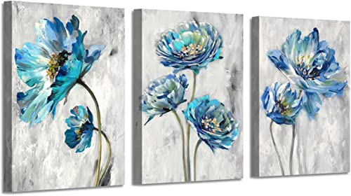 Abstract Floral Artwork Flower Picture Teal Splash Painting on Canvas Art for Wall 16 x 12 x 3 Panels