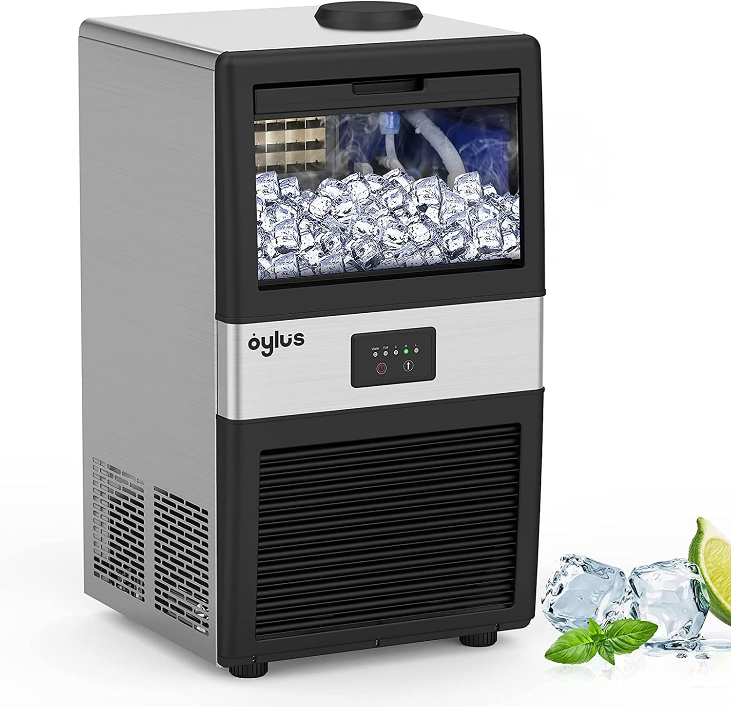 OYLUS Commercial Ice Maker Machine, 70lbs/24H Stainless Steel Freestanding Ice Machine With 17LBS Ice Storage Capacity, 32 Ice Cubes Within One Cycle Of 11-20 Mins For Home Party, Bar, Cafe and Office