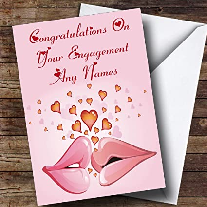 Amazon pink lips romantic personalized engagement greetings pink lips romantic personalized engagement greetings card m4hsunfo