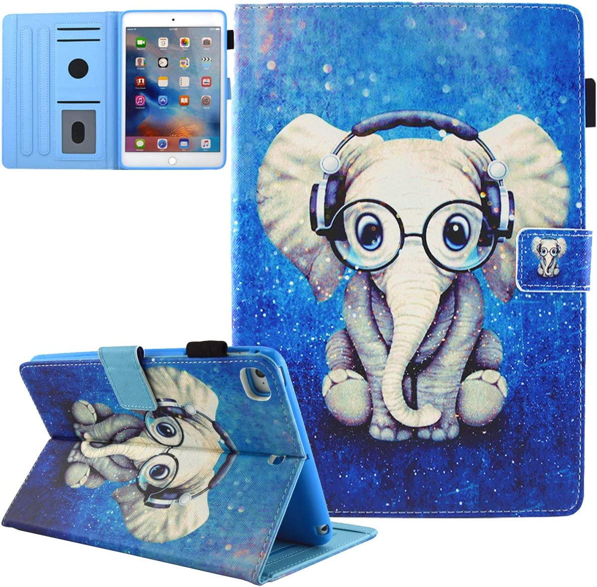 JZCreater Case for iPad 9.7 2018 2017 / iPad Air 2 / iPad Air Case - Flip Stand PU Leather Wallet Case, Auto Sleep/Wake Function Smart Cover, Elephant