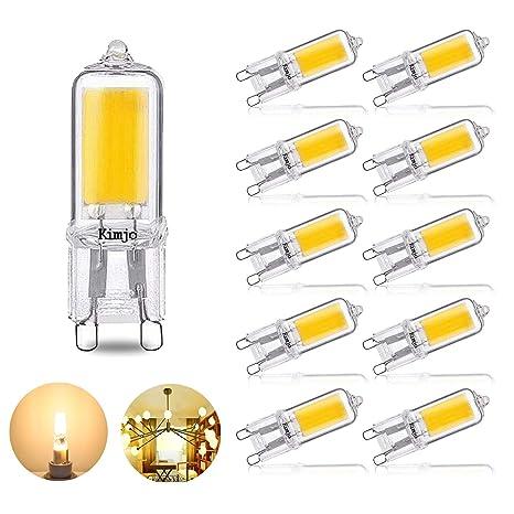 10 x Bombillas LED G9 COB Lámpara, Kimjo 2W Equivalente a 20W Lampara Halogenos,