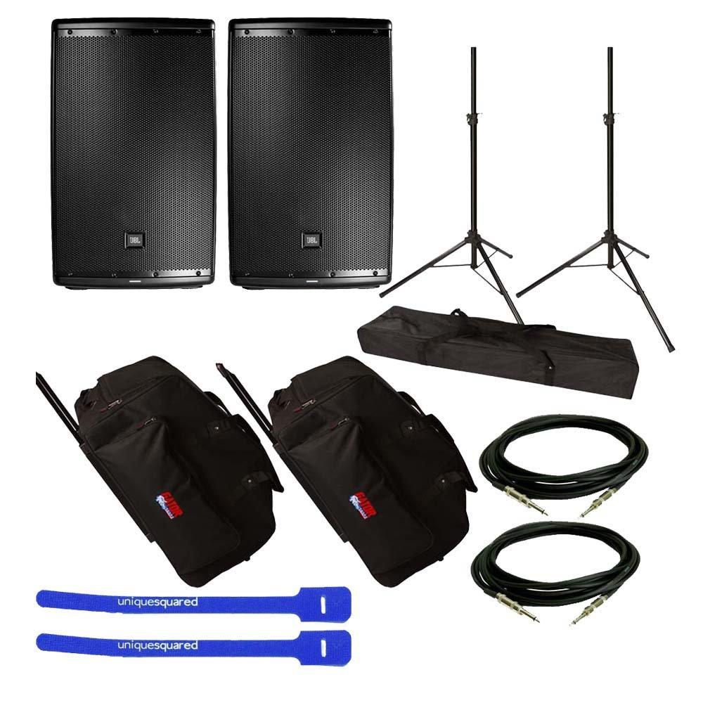 JBL EON615 15'' 2-Way Speaker System Pair w/ Gator GPA-715 Rolling Speaker Bag Pair, Tripod Speaker Stand Pair, XLR Cables & Cable Ties by JBL