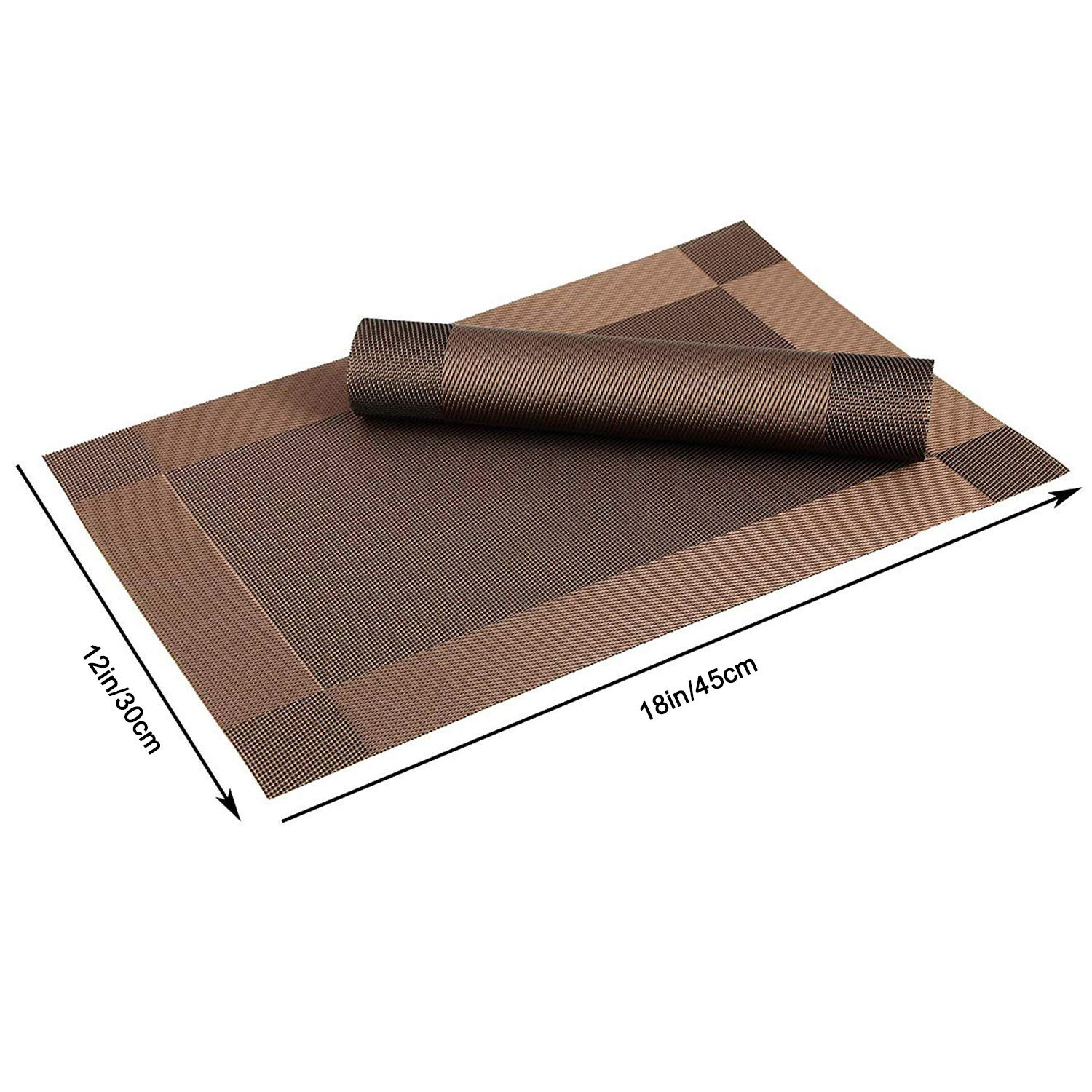 Gold YumSur Placemats Set of 6 for Dining Table Washable PVC Woven Vinyl Placemat Non-Slip Heat Resistant Kitchen Table Mats Easy to Clean