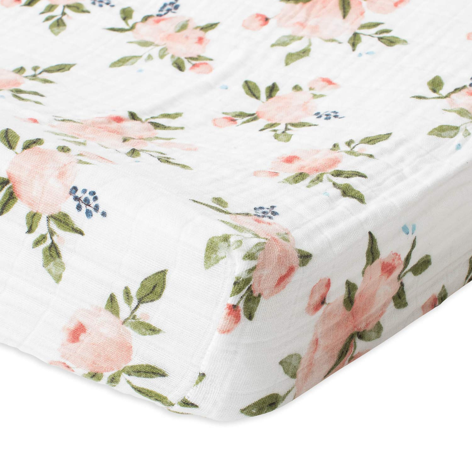 Little Unicorn Cotton Muslin Changing Pad Cover - Watercolor Roses by Little Unicorn