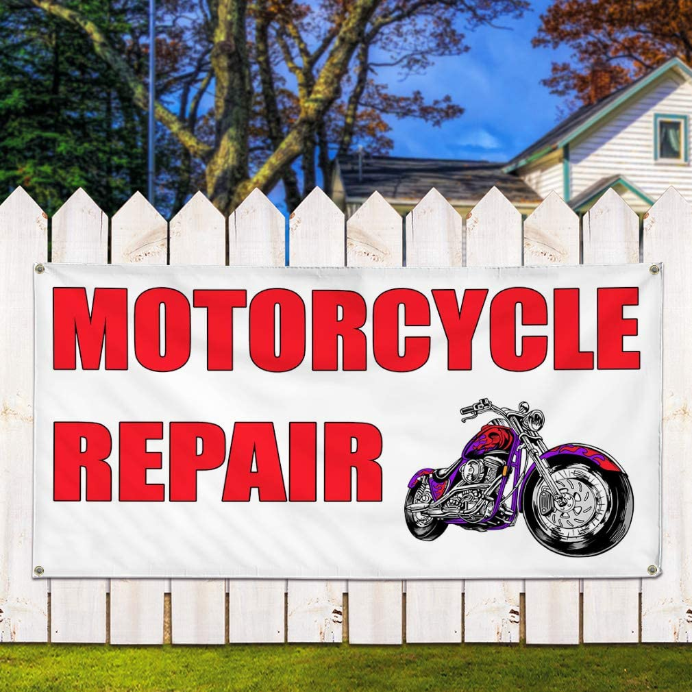 8 Grommets Vinyl Banner Sign Motorcycle Repair White Red3 Business Marketing Advertising White 48inx96in Multiple Sizes Available One Banner