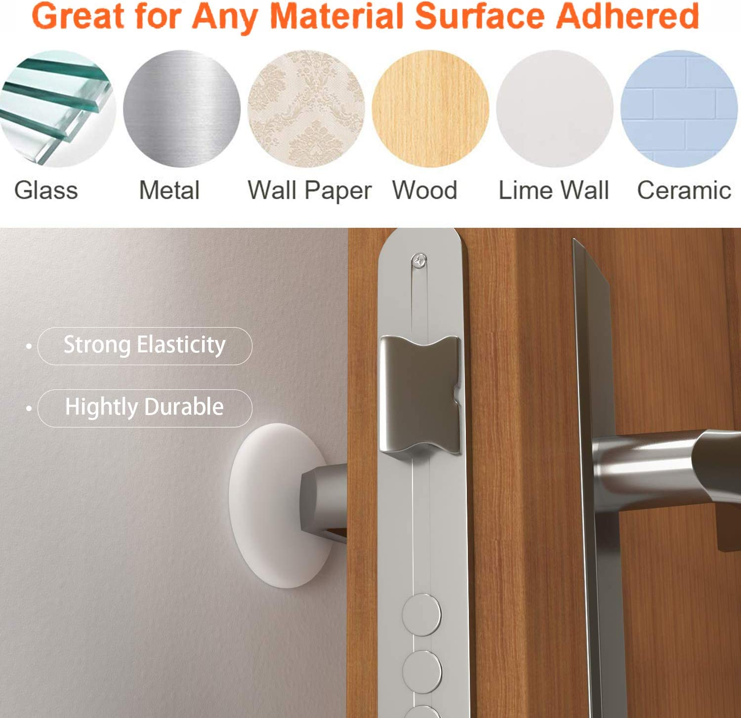 12 Pcs White Rubber Pads Sound Insulation and Shock Absorption Self Adhesive Protector Guard Your Wall Against Damage from Your Door Handle Door Stopper Wall Protector