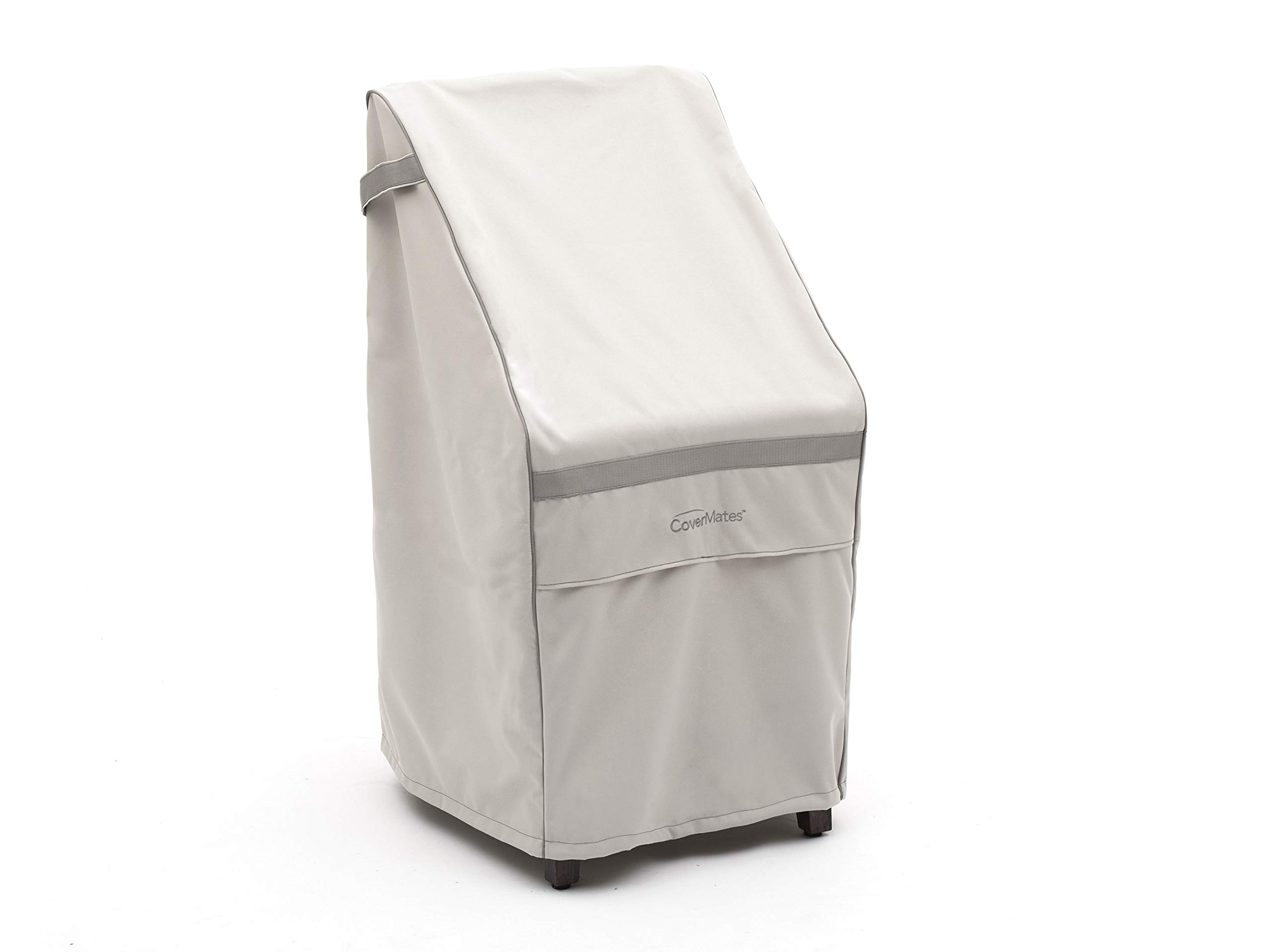 CoverMates – Stacking Chair Cover – 28W x 34D x 52H – Prestige Collection – 7 YR Warranty – Year Around Protection - Stone