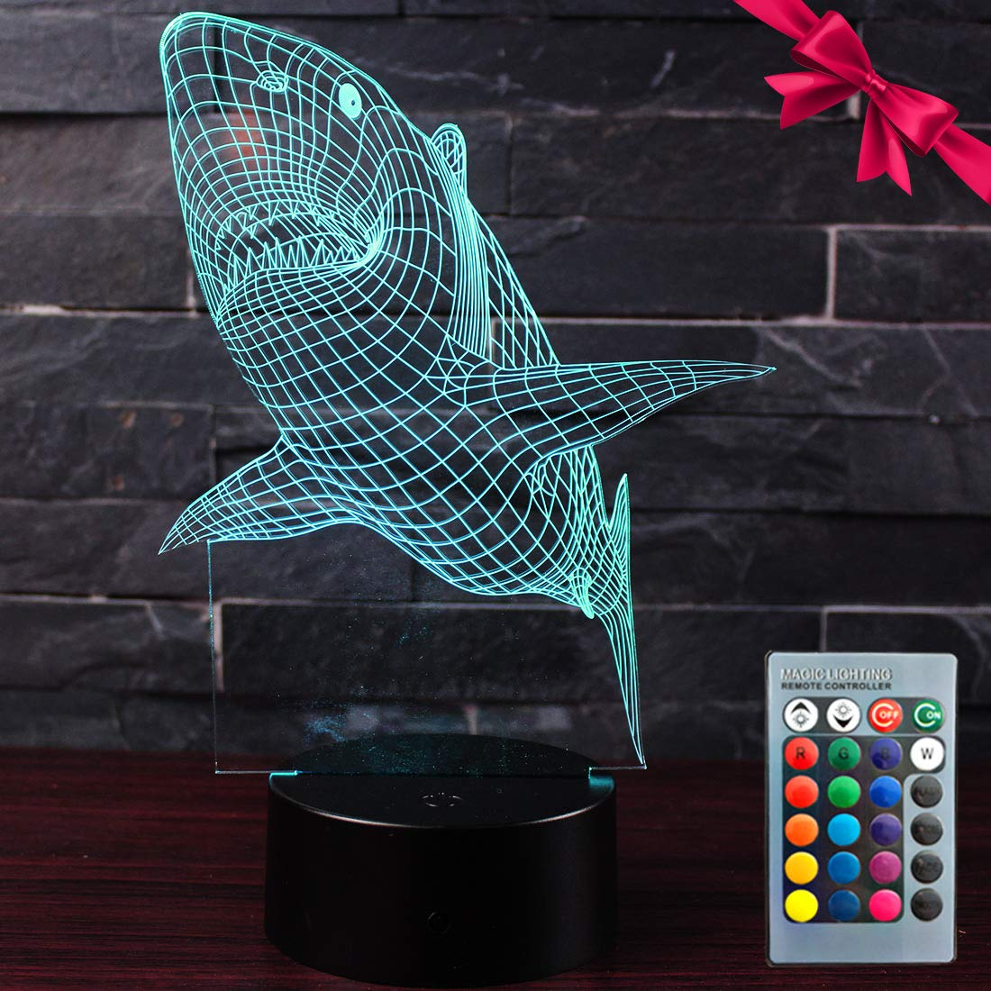 Shark 3D Led Night Light - Optical Illusion 7 Colors Touch Table Desk Visual Lamp with Remote Control Lamp for Gifts Toys for Children Kids