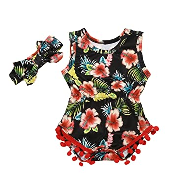 a790c69e276 Amazon.com  Baby Girls Infant Toddler One Piece Romper Jumpsuit Headband  Set Cuekondy Summer Floral Tassel Sleeveless Playsuit Outfits  Clothing