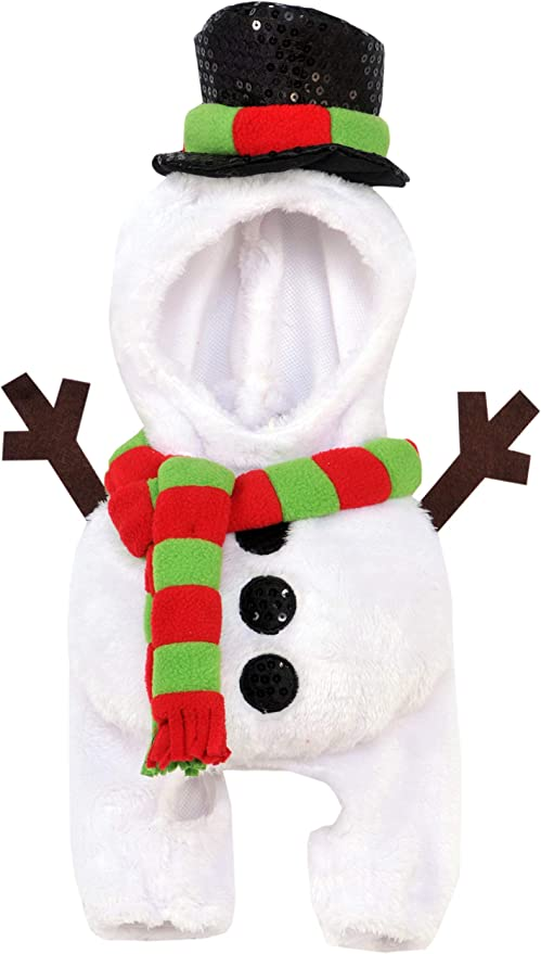 A cat wearing a snowman costume